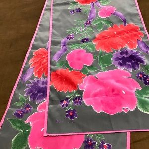 Vintage Signed Silk Floral Print Scarf